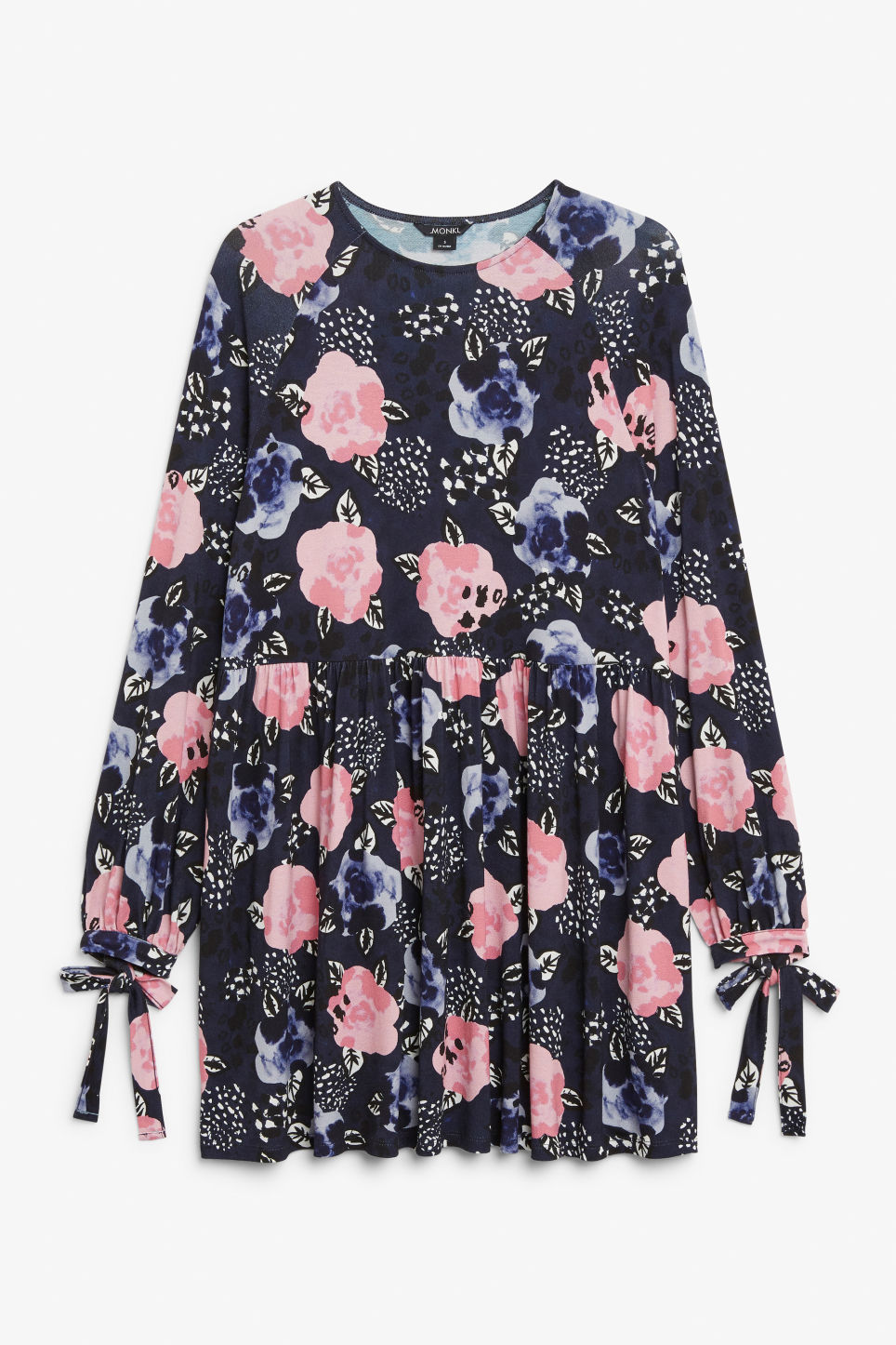 Front image of Monki flowy tie cuff dress in blue