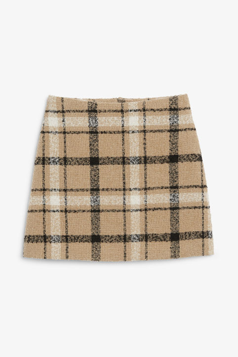 Front image of Monki bouclé mini skirt in beige