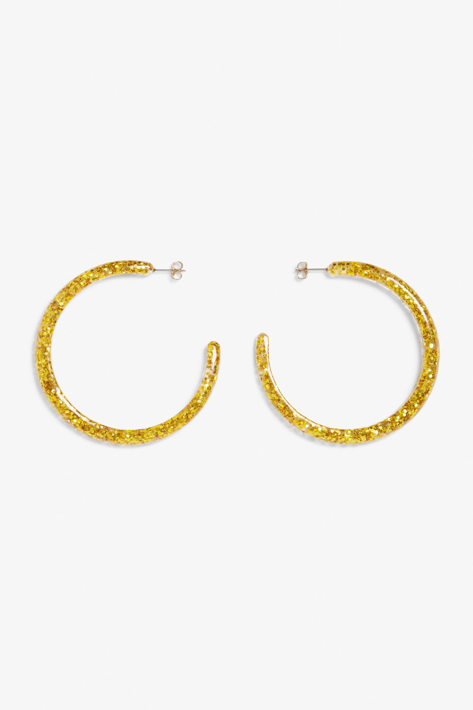 Front image of Monki glittery hoop earrings in gold