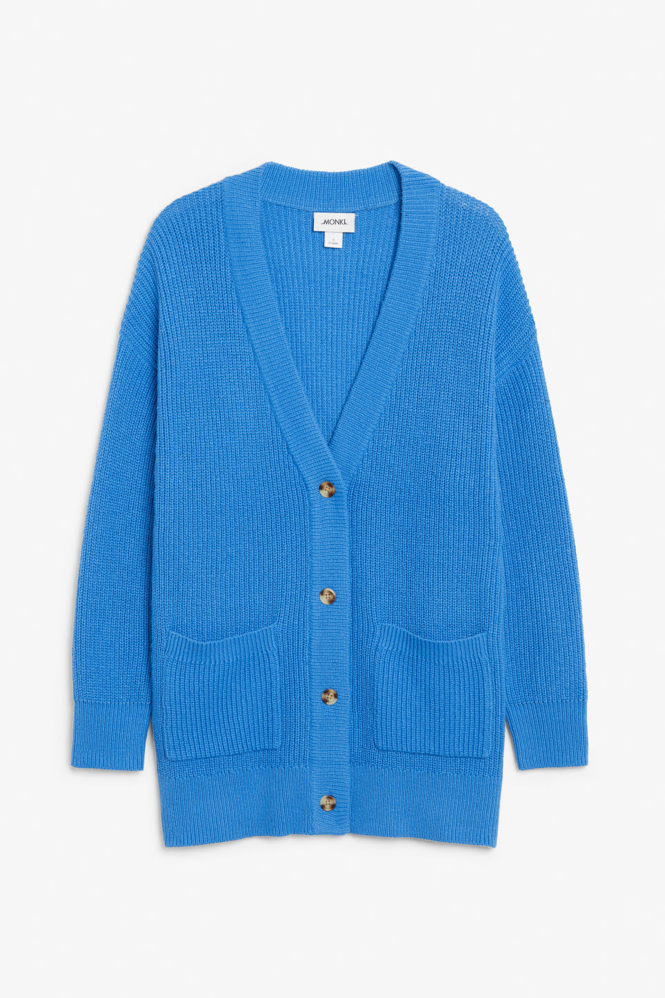 Front image of Monki long knitted cardigan in blue
