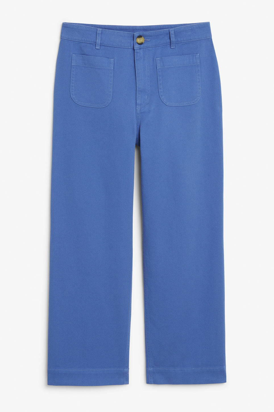 Front image of Monki wide trousers in blue