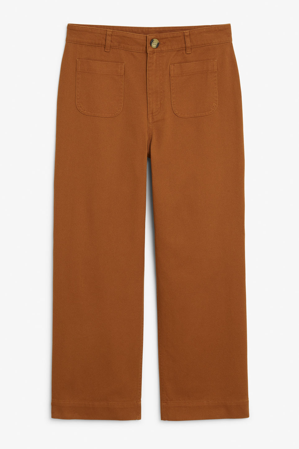 Front image of Monki wide trousers in brown