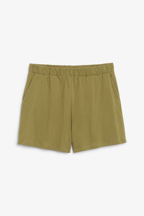 Front image of Monki striped cotton shorts in beige