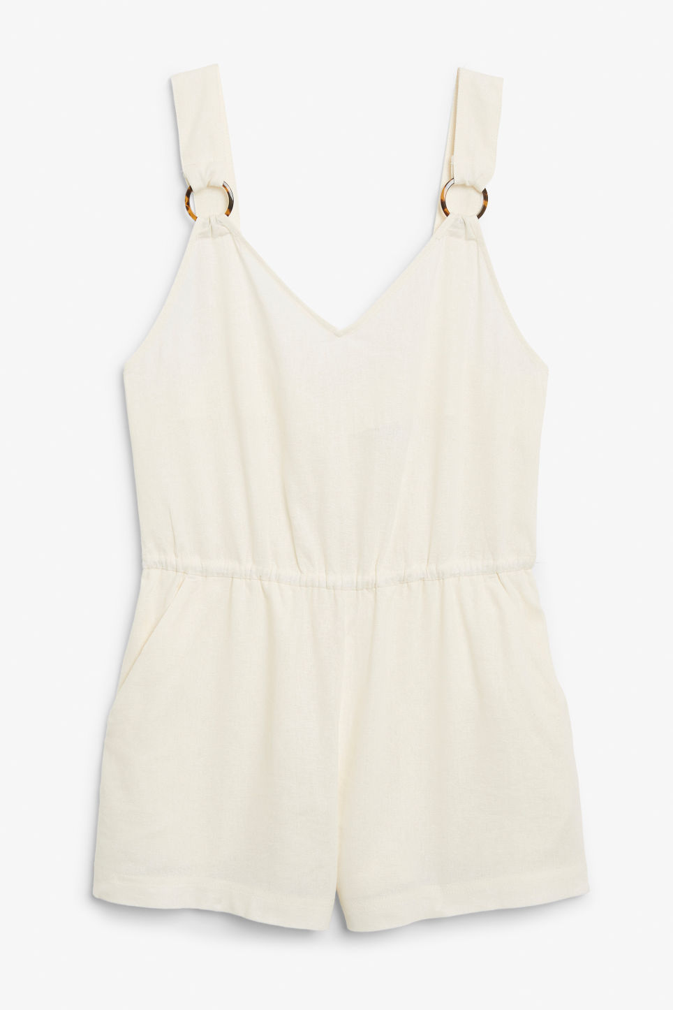 Front image of Monki linen blend playsuit in white