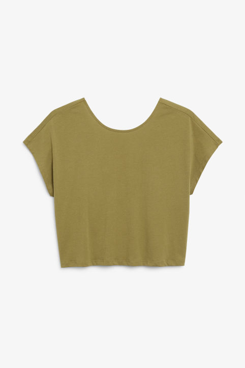 Front image of Monki oversized back detail top in beige