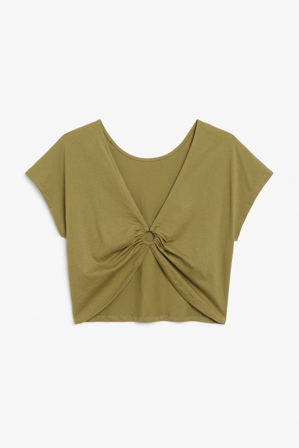 Back image of Monki oversized back detail top in beige