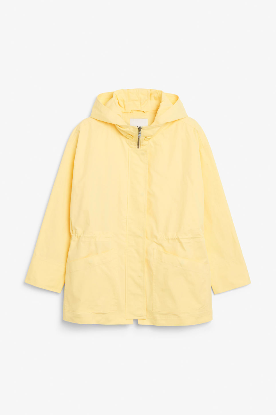 Front image of Monki hooded jacket  in yellow