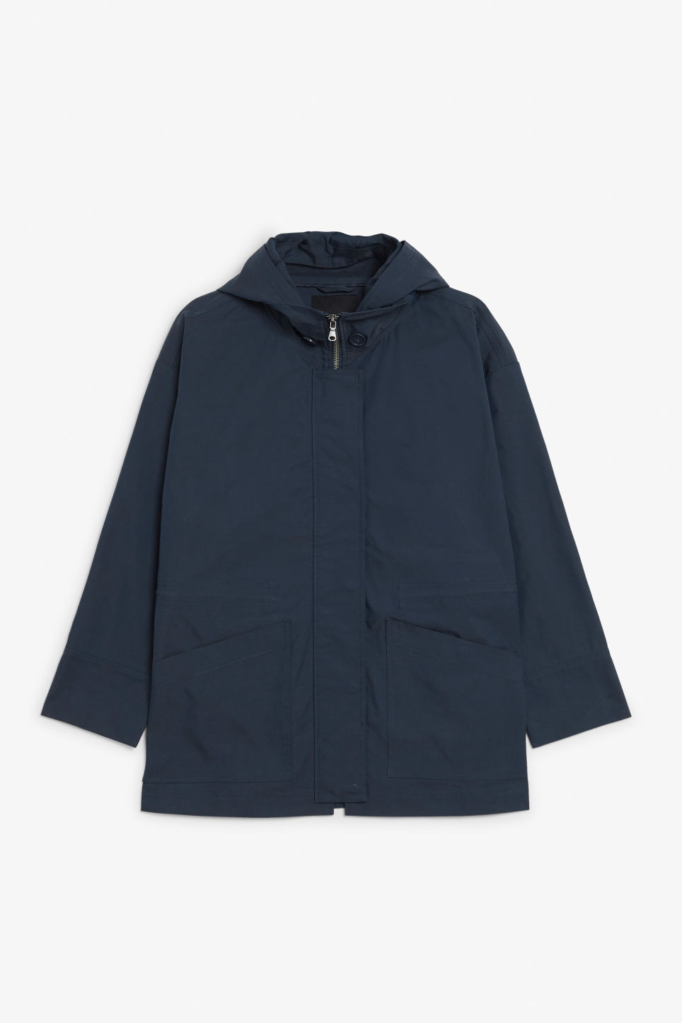 Front image of Monki hooded jacket  in blue