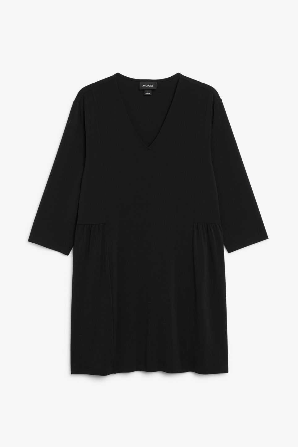Front image of Monki oversize v-neck dress in black