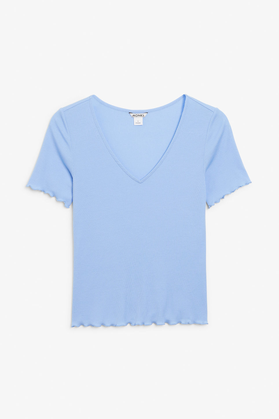 Front image of Monki v-neck top in blue
