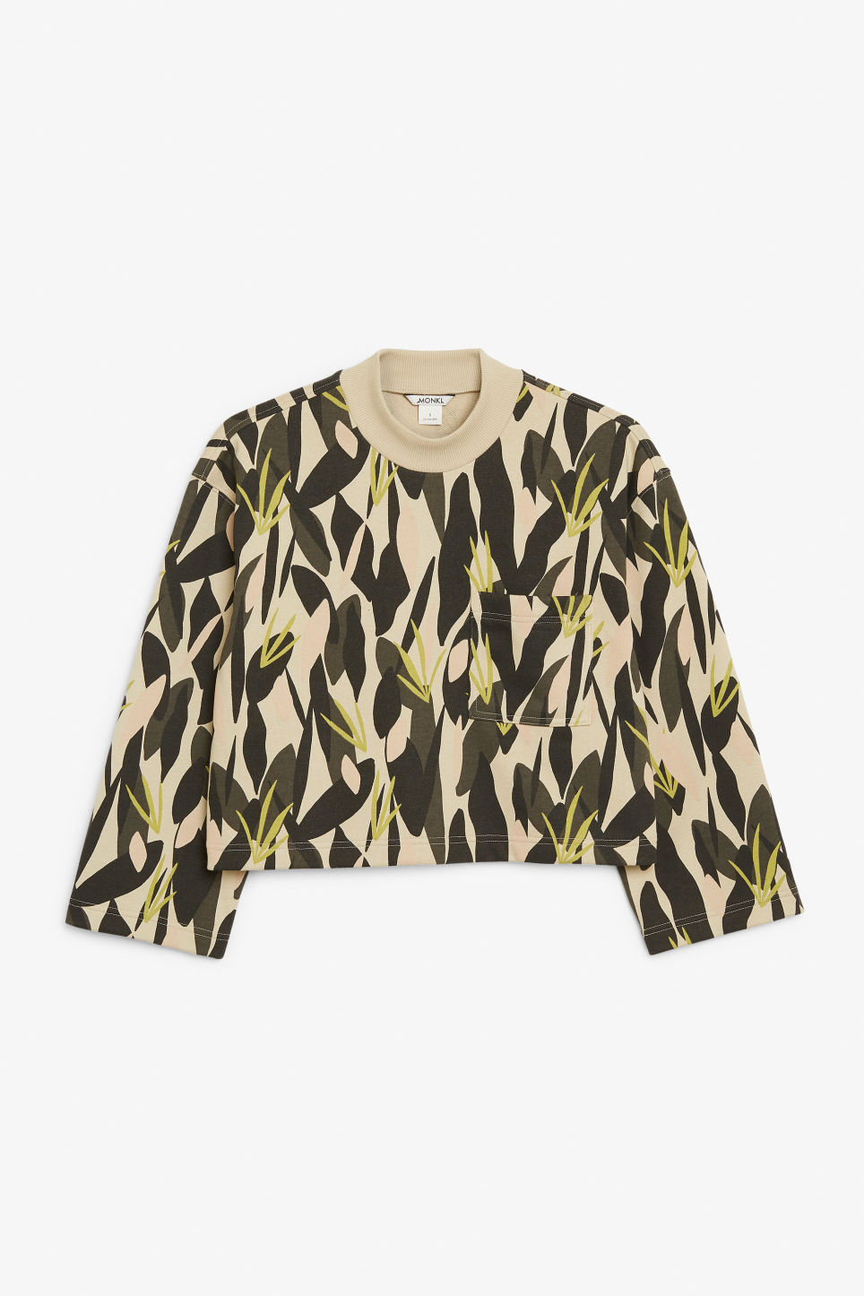 Front image of Monki cropped sweater in green