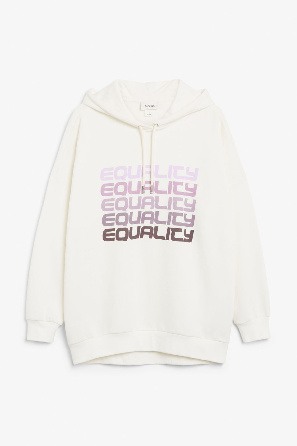 Front image of Monki statement hoodie in white