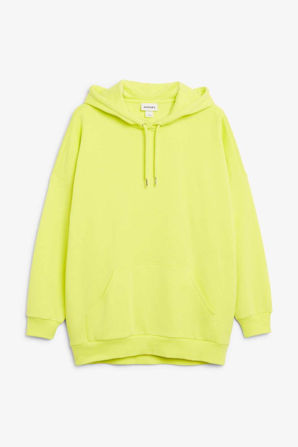 Front image of Monki statement hoodie in yellow