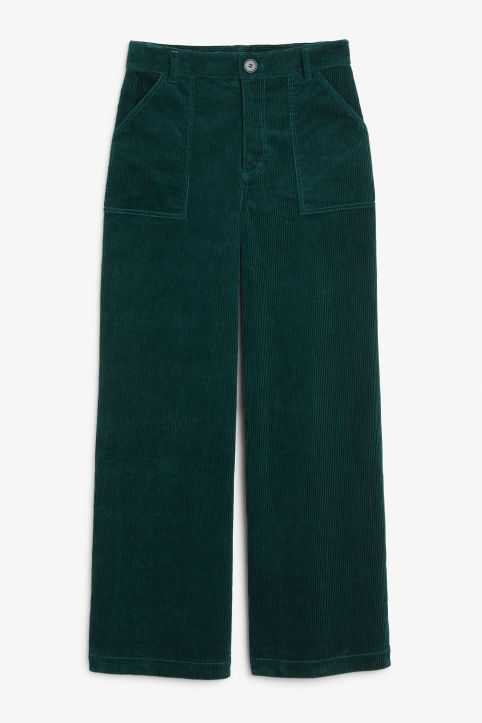Front image of Monki utility trousers in green