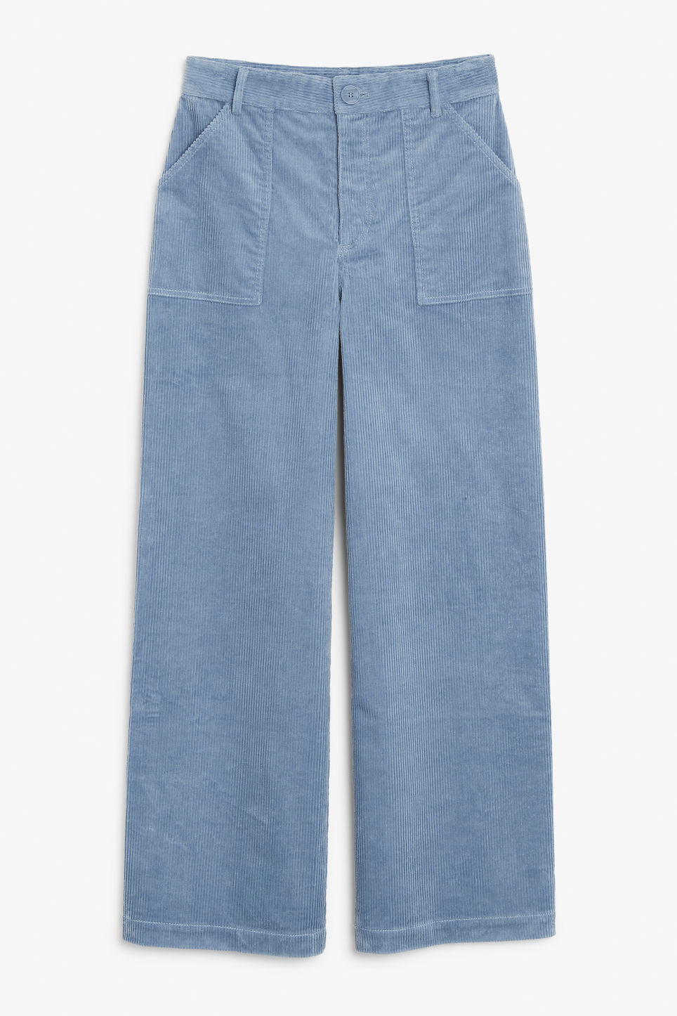 Front image of Monki utility trousers in blue