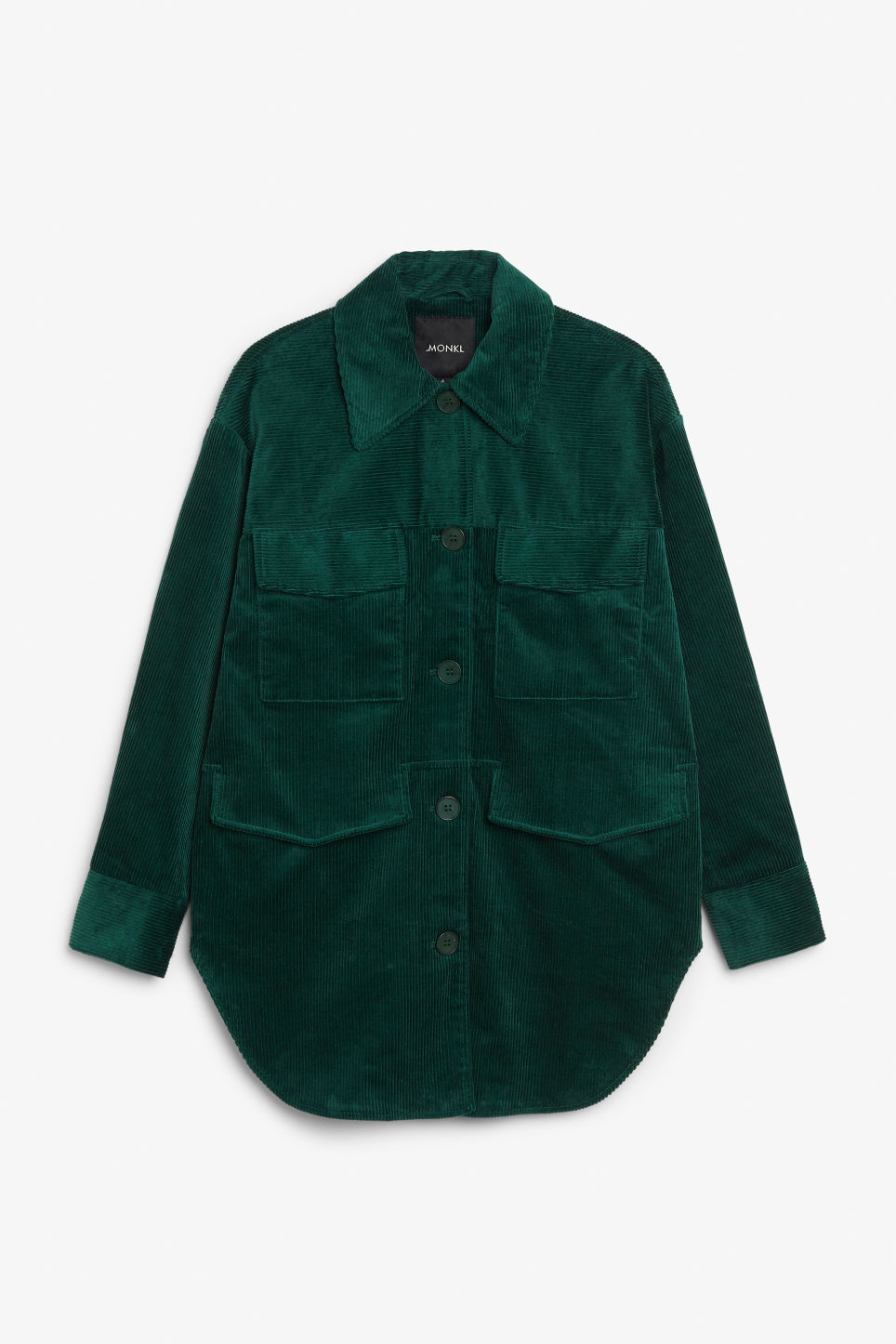 Front image of Monki corduroy utility jacket in green