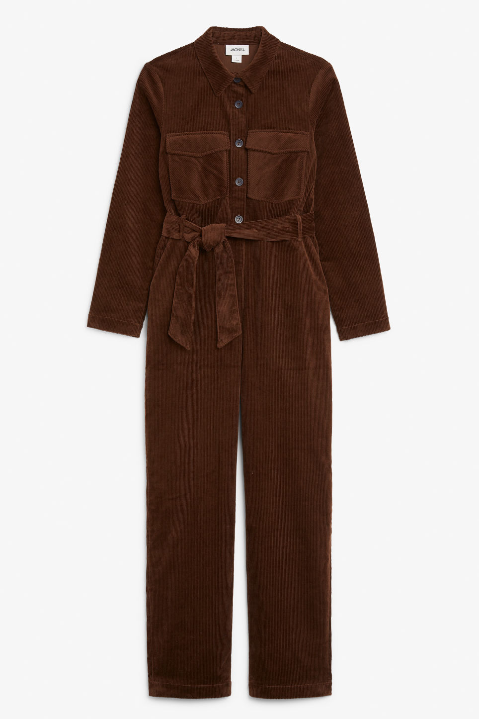 Front image of Monki corduroy jumpsuit in brown
