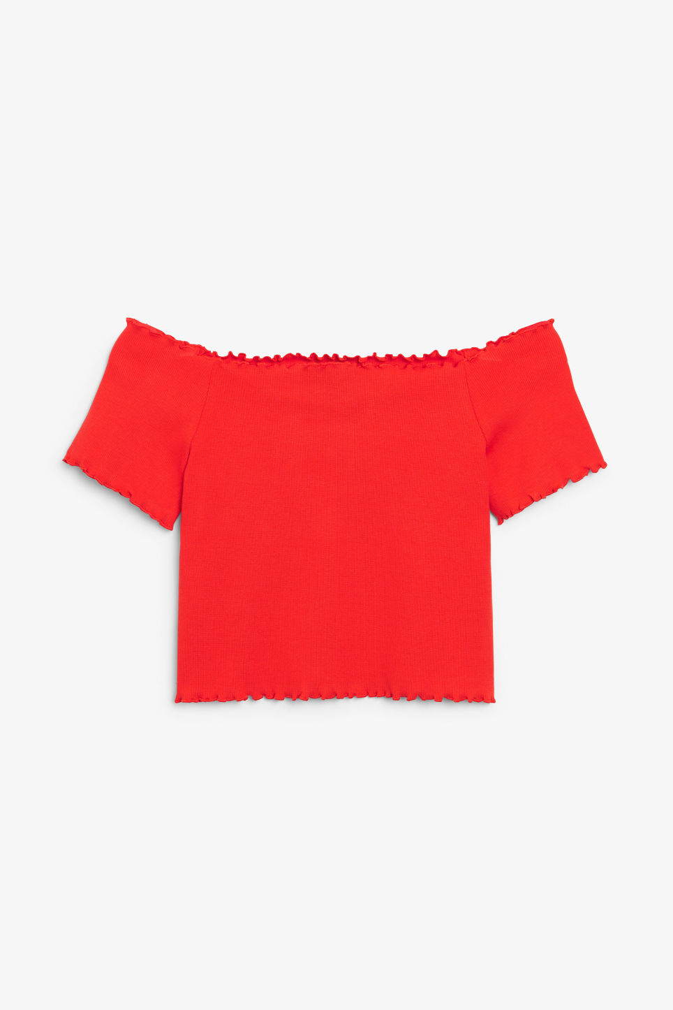 Front image of Monki cropped bardot top  in red
