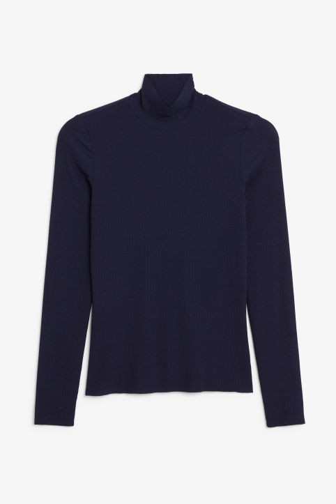 Front image of Monki turtleneck top in blue