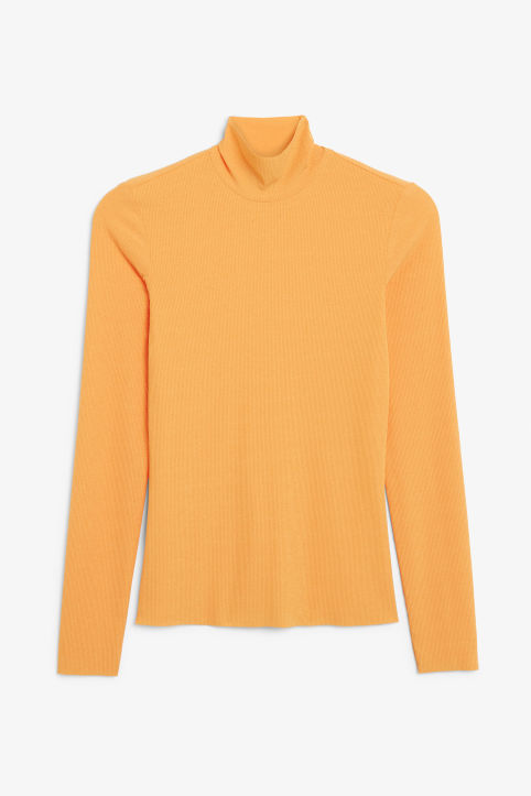 Front image of Monki turtleneck top in orange