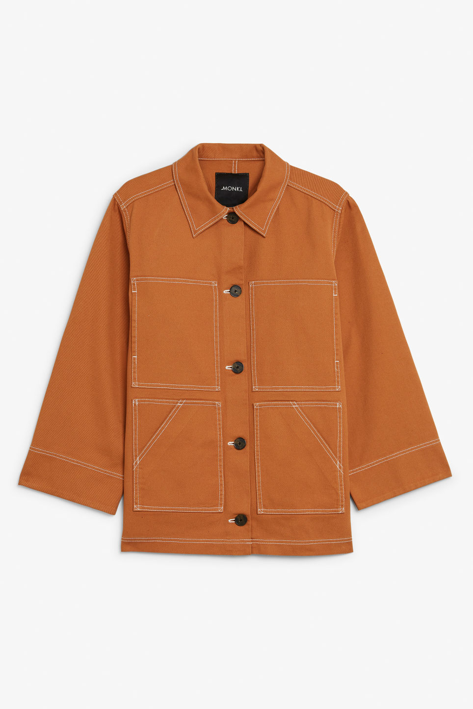 Front image of Monki contrast stitch jacket in orange