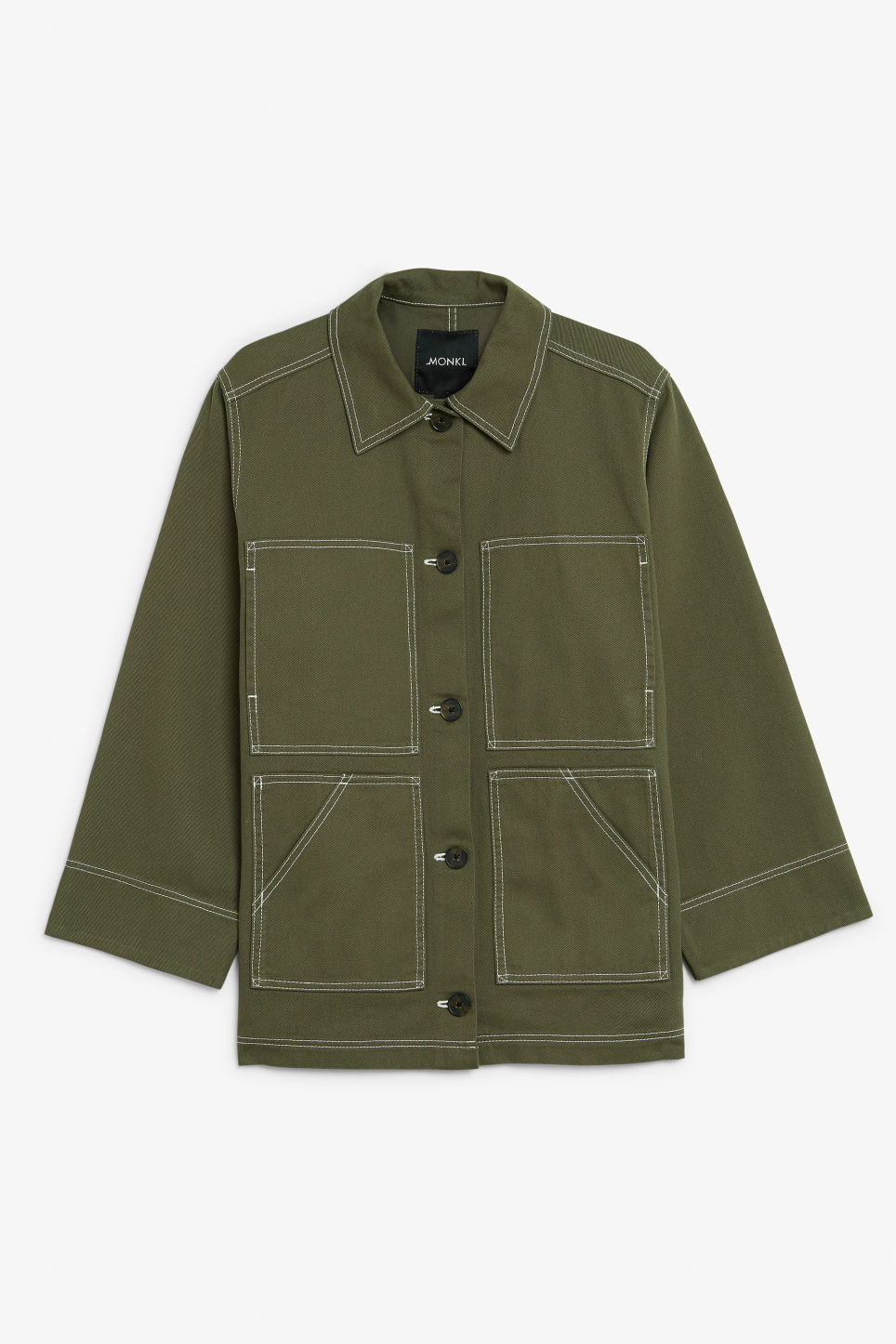 Front image of Monki contrast stitch jacket in green