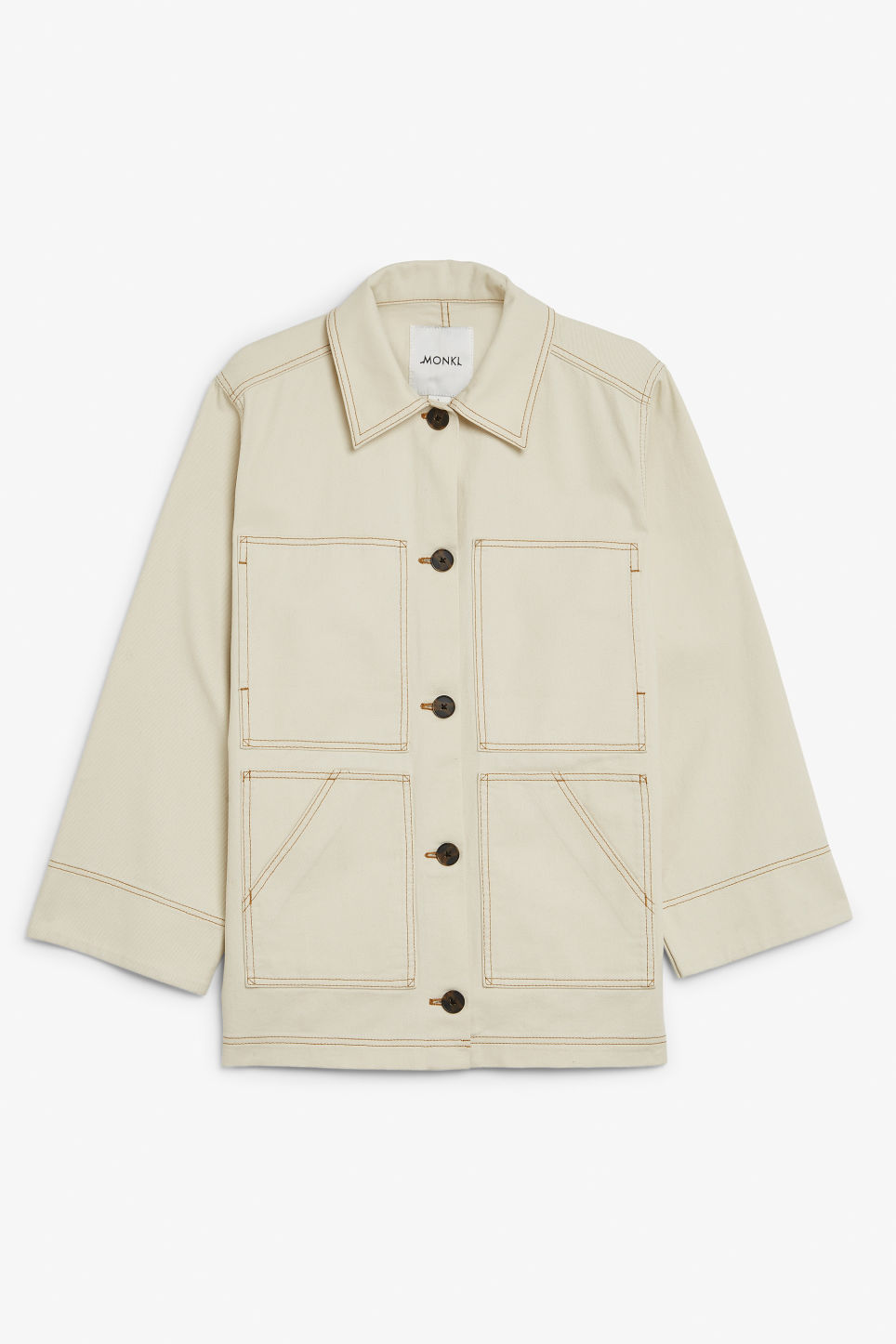 Front image of Monki contrast stitch jacket in beige