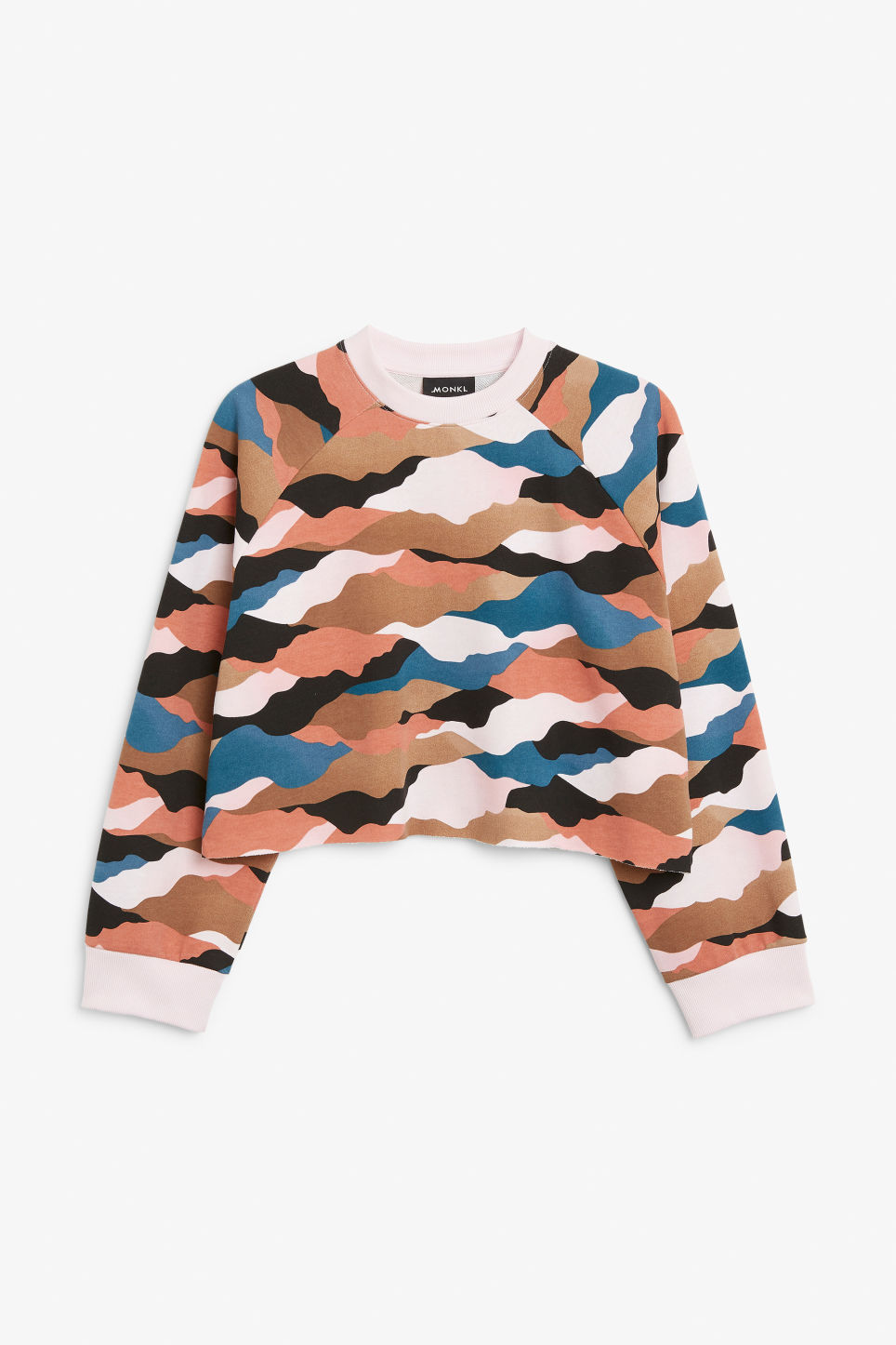 Front image of Monki cropped sweatshirt  in pink