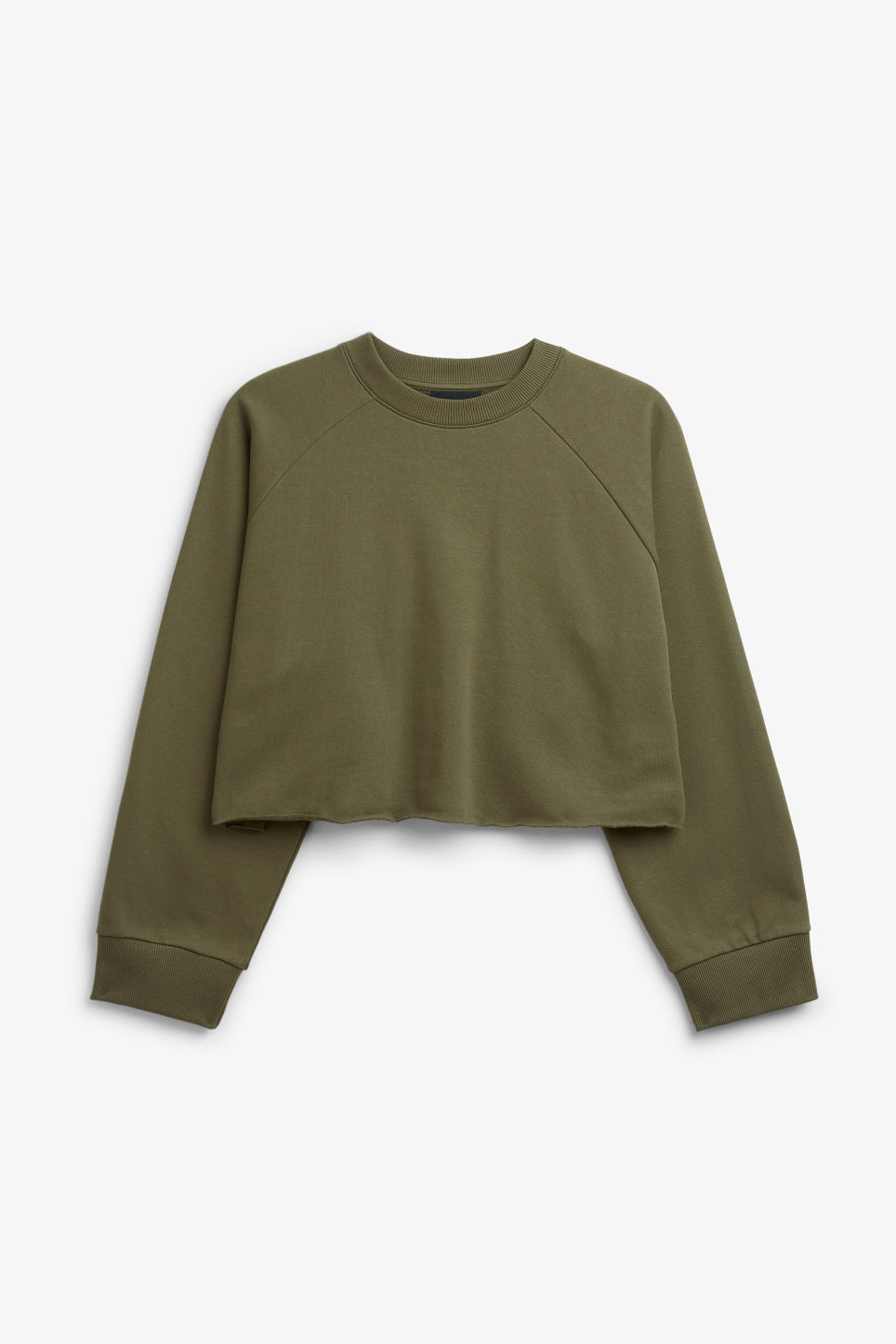 Front image of Monki cropped sweatshirt  in green