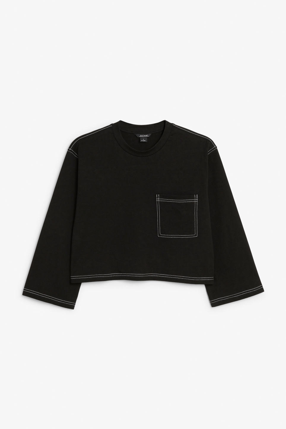 Front image of Monki contrast stitch crop tee in black