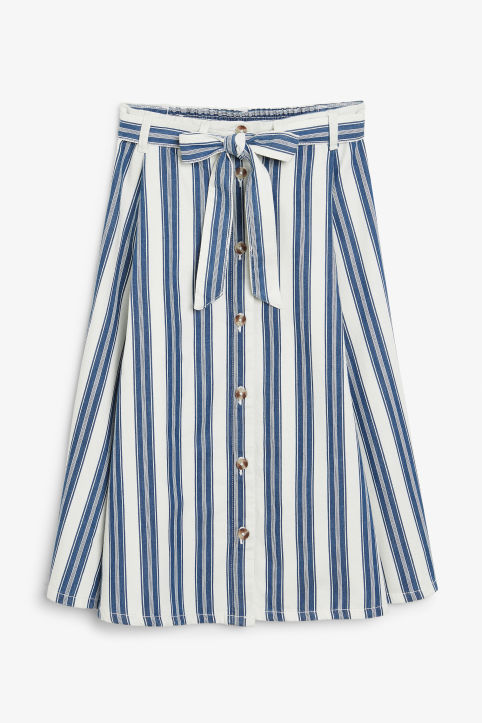 Front image of Monki denim midi skirt in blue