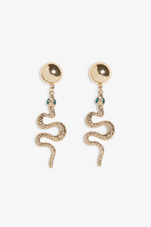 Golden metallic snake earrings