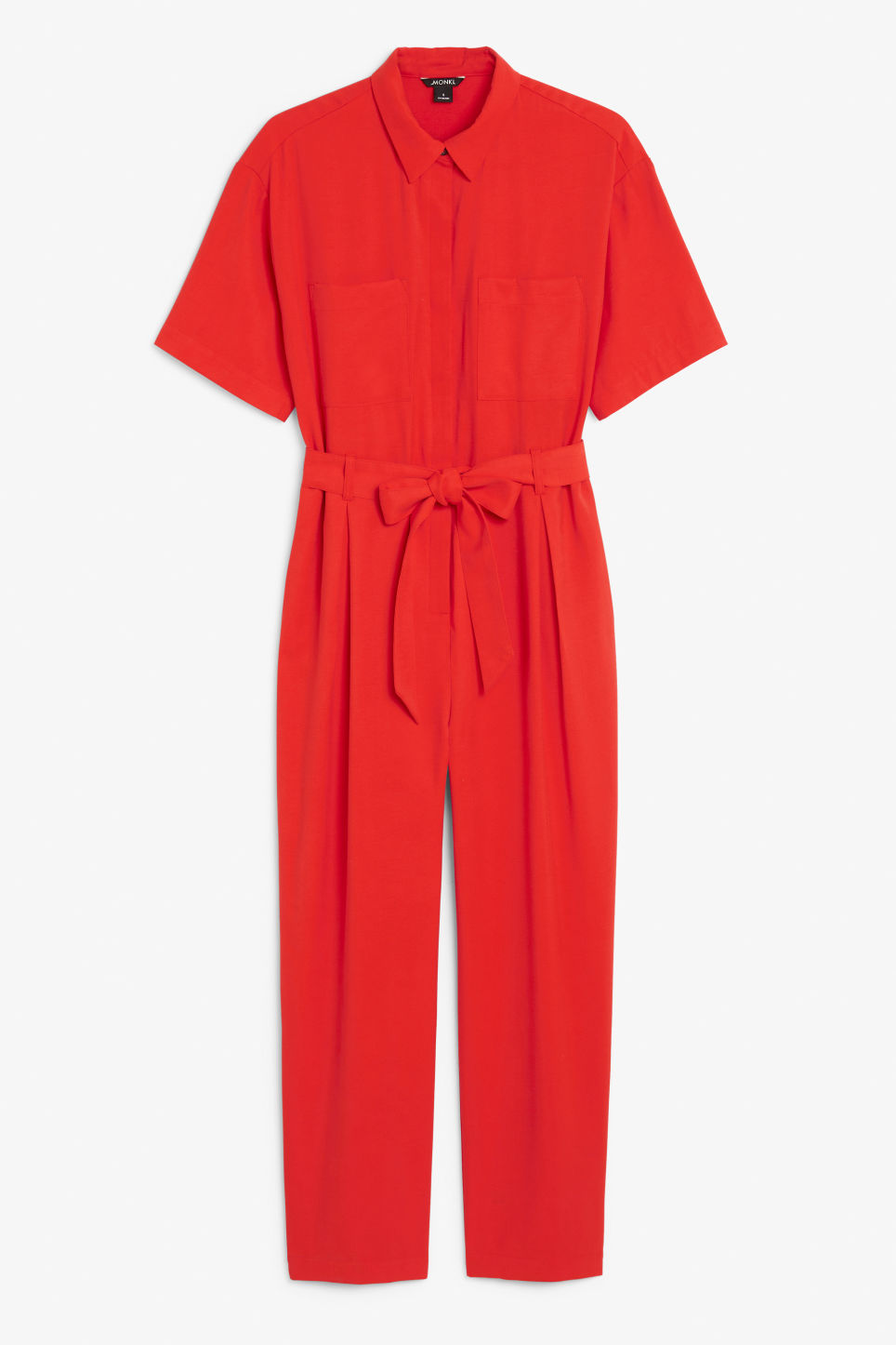 Front image of Monki short-sleeved flowy jumpsuit in red