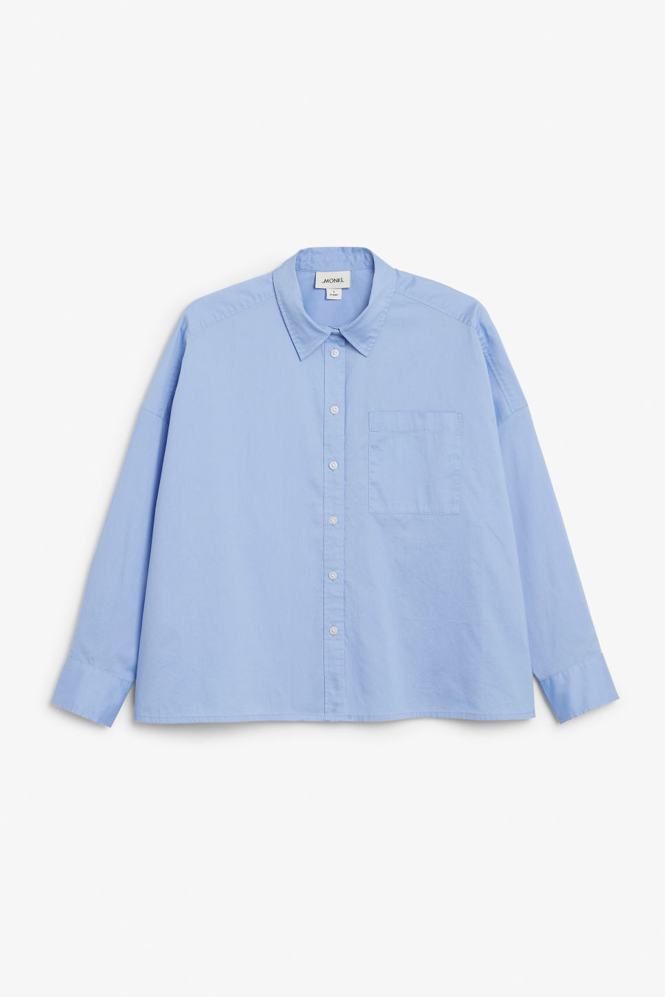 Front image of Monki rolled-up sleeve blouse in blue