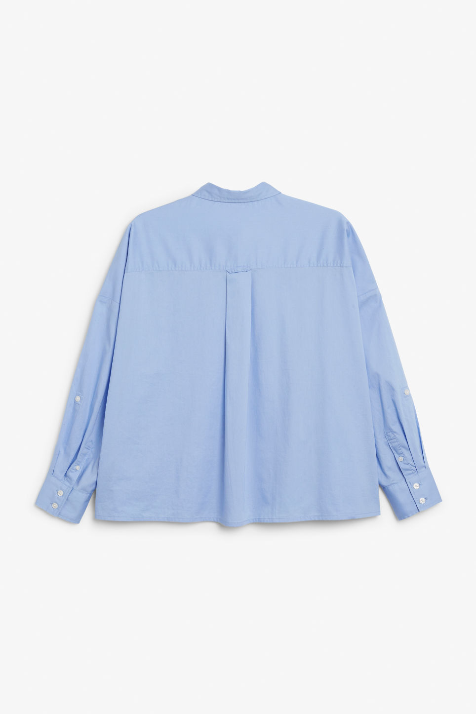 Back image of Monki rolled-up sleeve blouse in blue