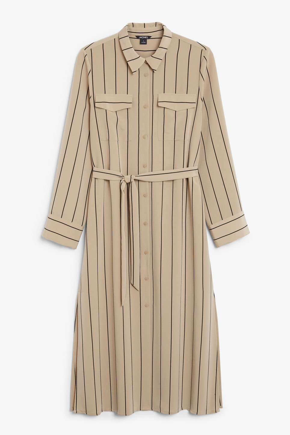 Front image of Monki flowy utility dress in beige