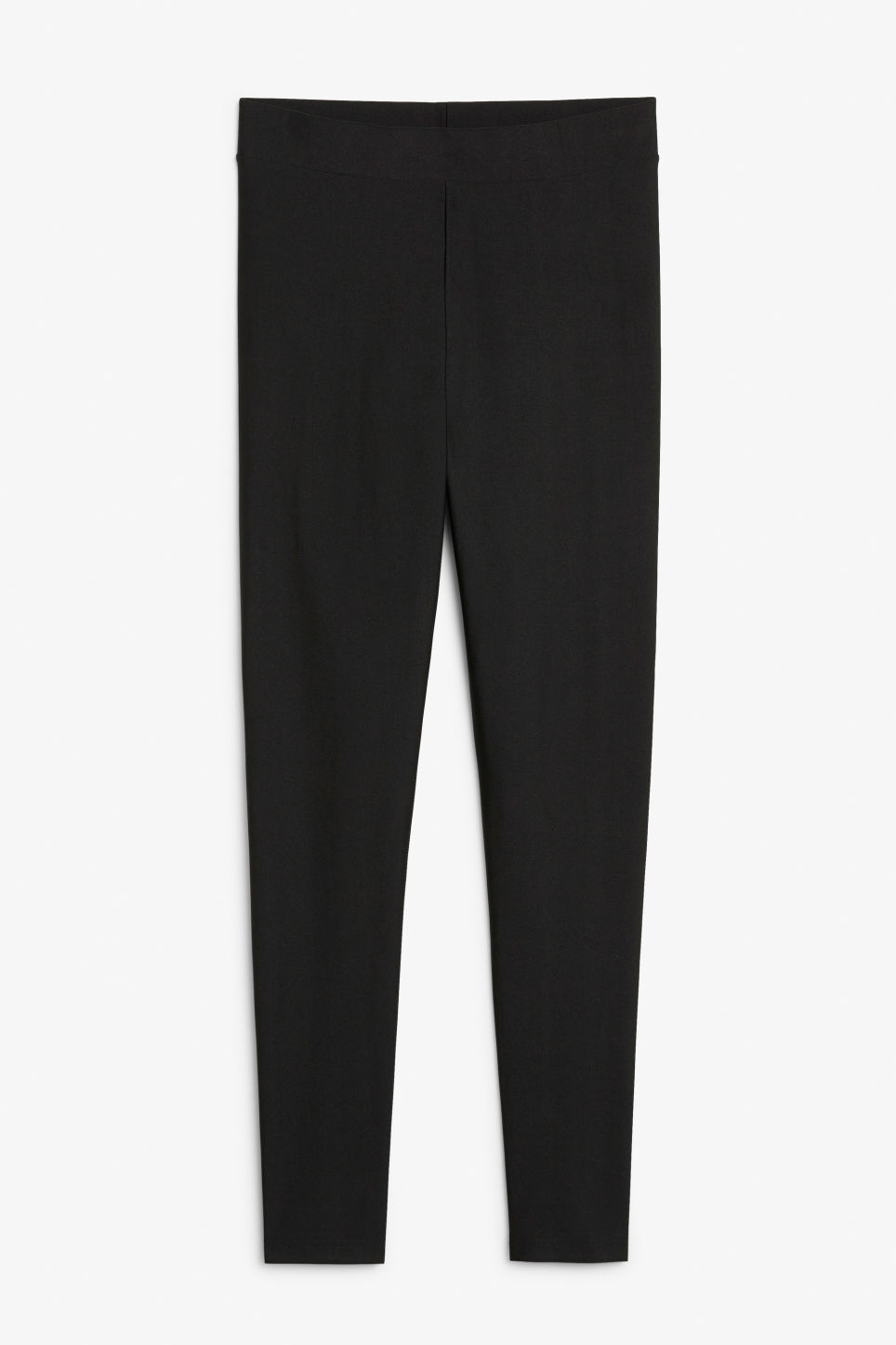 Front image of Monki silky leggings in black