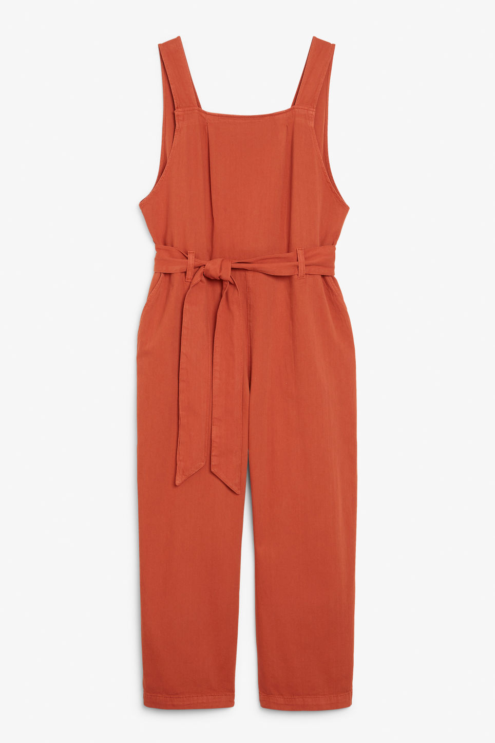 Front image of Monki pinafore jumpsuit in orange