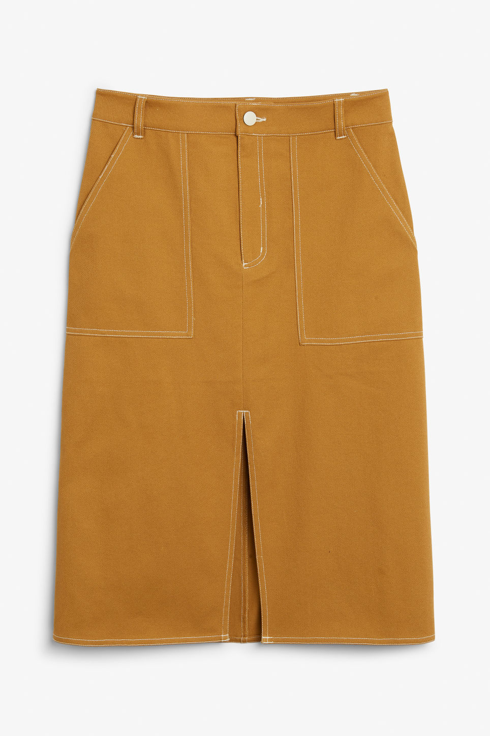 Front image of Monki utility midi skirt in yellow