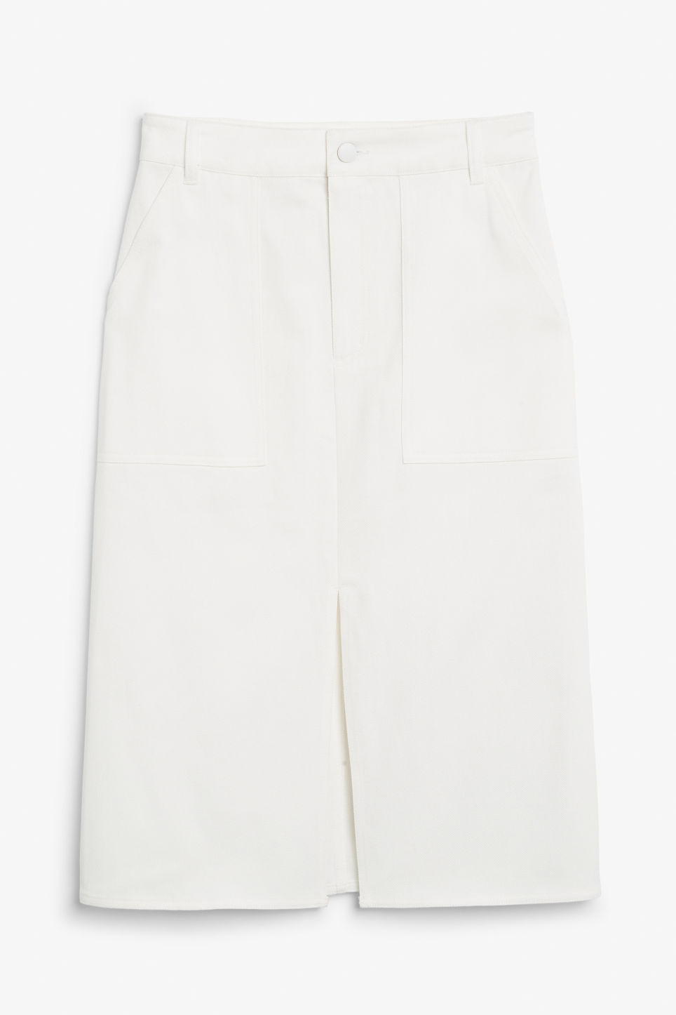 Front image of Monki utility midi skirt in white