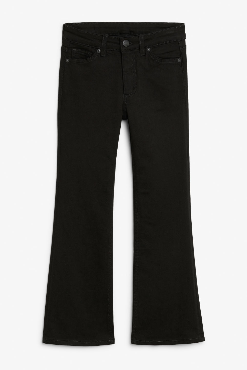 Front image of Monki mocki cropped flare jeans in black