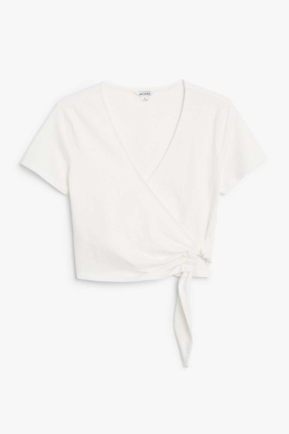 Front image of Monki wrap top in white