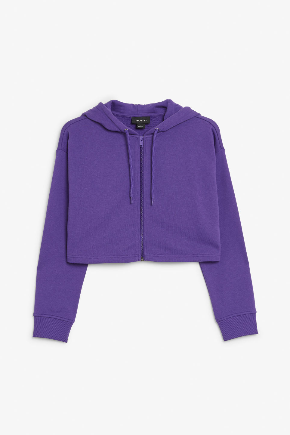 Front image of Monki cropped zip hoodie in purple