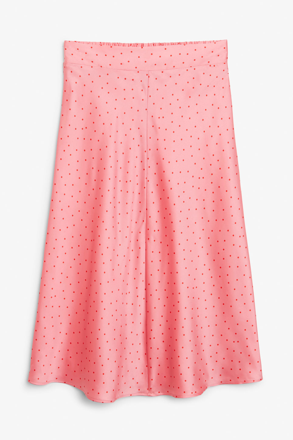 Front image of Monki silky midi skirt in pink