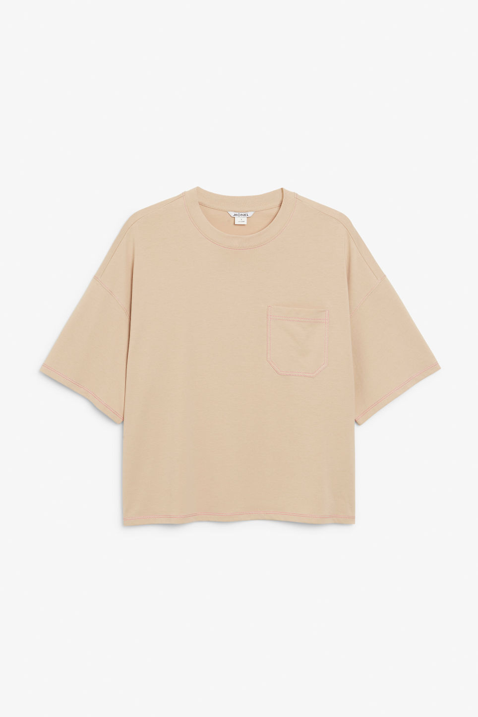 Front image of Monki boxy tee in beige