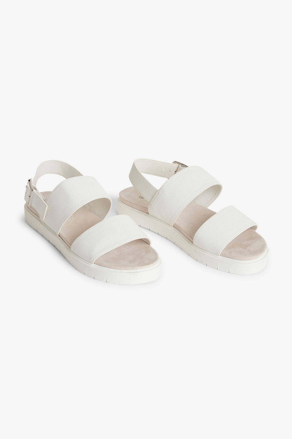Front image of Monki slingback sandals  in white
