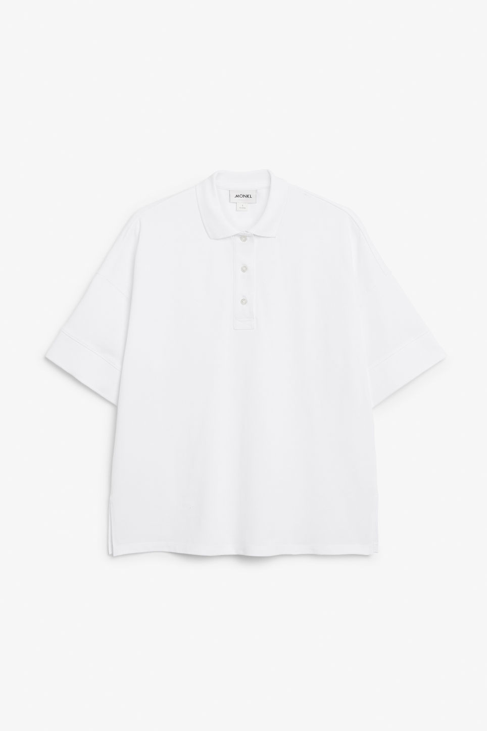Front image of Monki oversized polo top in white