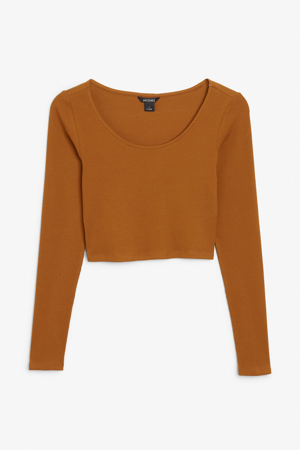 Front image of Monki cropped ribbed top in brown