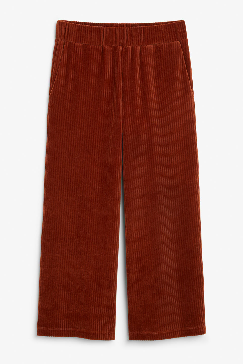 Front image of Monki cropped corduroy trousers in orange