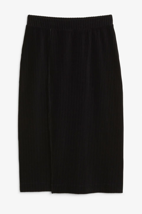 Front image of Monki soft ribbed velour skirt in black